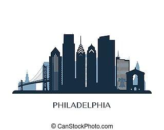 monocromático, skyline, silueta, filadélfia
