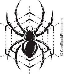 monocromático, teia, aranha, símbolo.