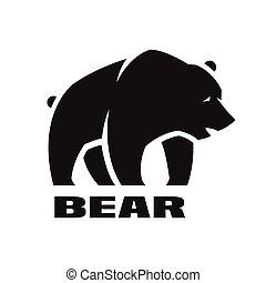monocromático, urso, logo.