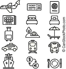 monocromático, viaje ícones