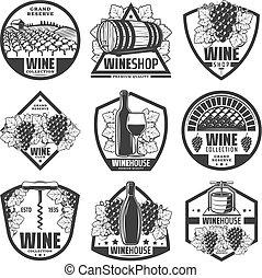 monocromático, vindima, etiquetas, jogo, vinho