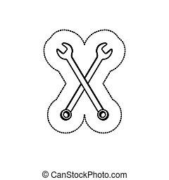 monocromatico, adesivo, attraversato, wrenches