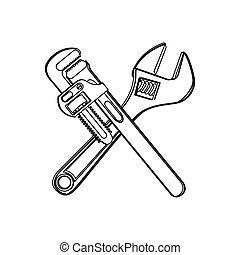 monocromatico, attraversato, contorno, wrenches