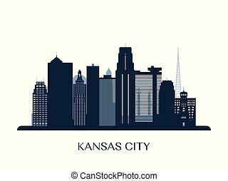 monocromatico, città, kansas, orizzonte, silhouette.