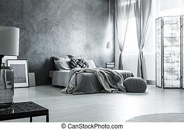 monocromatico, grigio, scandinavo, disegno, camera letto