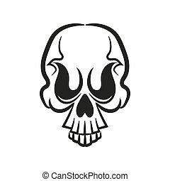 monocromatico, illustrazione, skull.