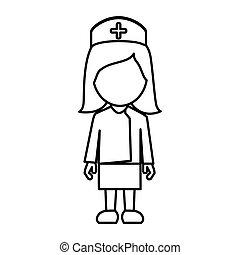 monocromatico, infermiera, faceless, contorno, femmina