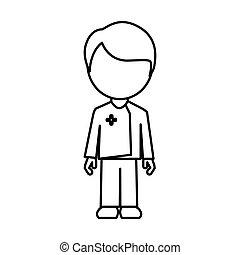 monocromatico, infermiera, maschio, faceless, contorno