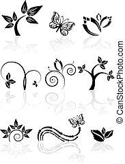 monocromatico, natura, icone