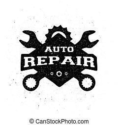 monocromatico, riparazione automobile, emblem.