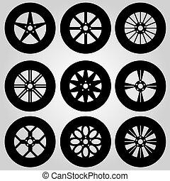 monocromatico, ruote, collezione, automobile