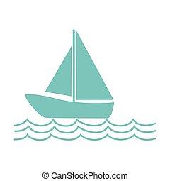 monocromatico, silhouette, con, barca naviga, su, il, onde