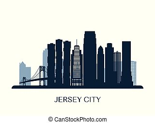 monocromatico, skyline città, jersey, silhouette.