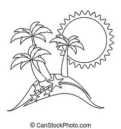 monocromatico, spiaggia, contorno, starfish