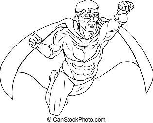 monocromatico, superhero, illustrazione