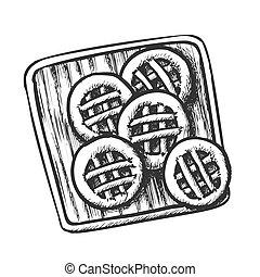 monocromatico, vettore, biscotti, tagliere, legno