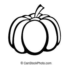 monocromatico, vettore, logo., illustrazione, zucca