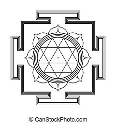 monocrome outline Durga yantra illustration - vector black...