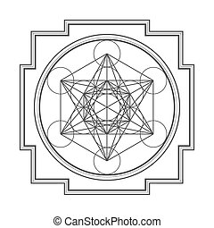 monocrome outline metatron cube yantra illustration - vector...