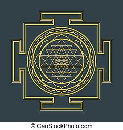 monocrome outline Sri yantra illustration - vector gold...