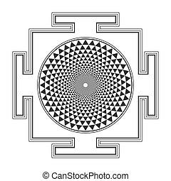 monocrome, sahasrara, yantra, illustration, contour