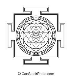 monocrome, sri, yantra, ilustración, contorno
