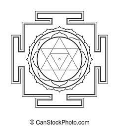 monocrome, yantra, contour, baglamukhi, illustration