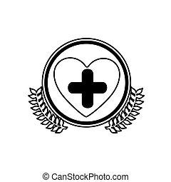 monocromo, círculo, con, aceituna, branchs, y, símbolo, cruz, en, corazón