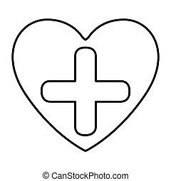 monocromo, contorno, con, símbolo, cruz, en, corazón