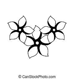 monocromo, contorno, conjunto, colección, de, flores