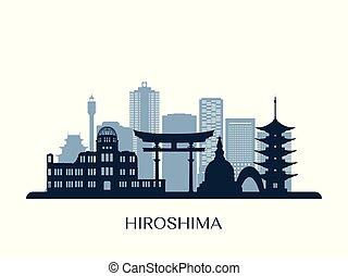 monocromo, contorno, hiroshima, silhouette.