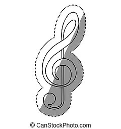 monocromo, contorno, silueta, con, señal, música, clave de sol