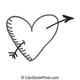 monocromo, corazón, amor, icono