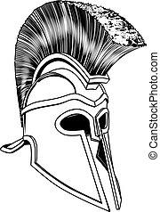 monocromo, corintio, casco