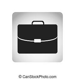 monocromo, cuadrado, marco, con, silueta, maletín, ejecutivo, icono