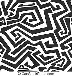 monocromo, curvo, líneas, seamless, textura