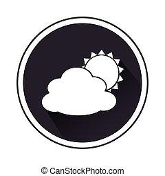 monocromo, frontera, con, silueta, nube, y, sol