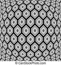 monocromo, hexágono, alabeado, diseño, patrón