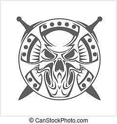 monocromo, medieval, cráneo, aislado, en, white.
