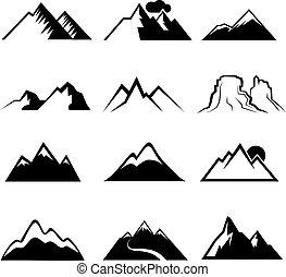 monocromo, montaña, vector, iconos