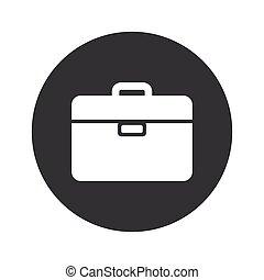 monocromo, redondo, maletín, icono