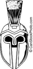 monocromo, spartan, casco, ilustración