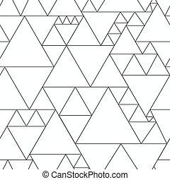 monocromo, triángulo, seamless, patrón
