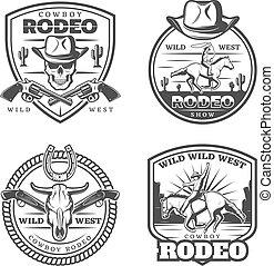 monocromo, vendimia, rodeo, emblemas, conjunto