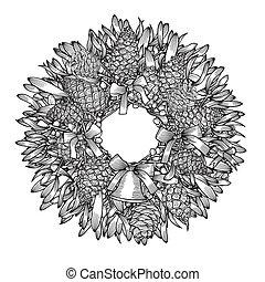 monocromo, wreath., navidad