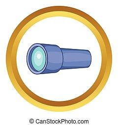 Monocular vector icon in golden circle, cartoon style ...