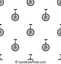 Monocycle icon in black style isolated on white background. Circus pattern stock vector illustration.