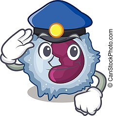 Monocyte cell Cartoon mascot performed as a Police officer. ...