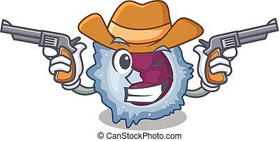 Monocyte cell dressed as a Cowboy having guns. Vector ...