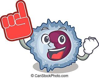 Monocyte cell mascot cartoon style holding a Foam finger. ...